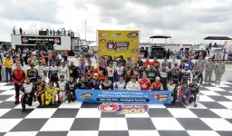 The full field of drivers pose for a photograph before the Good Sam Roadside Assistance 200 at Rockingham Speedway on April 15, 2012 in Rockingham, North Carolina. (Photo by Rainier Ehrhardt/Getty Images for NASCAR)