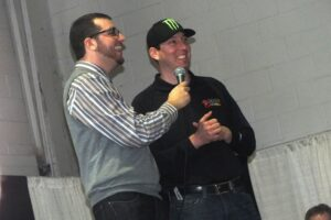 Kyle Busch with CME Q&A Host Spencer Lewis / Photo Credit: Ashley McCubbin