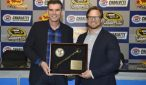 NASCAR icon Ray Evernham recieves the Smokey Yunick Award from Charlotte Motor Speedway President and General Manager Marcus Smith. (CMS/HHP photo)