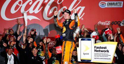 Martin Truex Jr. celebrates winning the Coca-Cola 600. Photo: Todd Warshaw/NASCAR via Getty Images