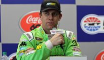 Carl Edwards speaks before the NASCAR media corp during his weekly availability. Photo: Noel Lanier/OnPitRoad.com
