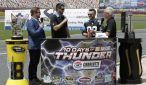Charlotte Motor Speedway President and General Manager Marcus Smith, far left, discusses the 10 Days of NASCAR Thunder with, from left, Carolina Panthers kicker Graham Gano, NASCAR driver Austin Dillon and Charlotte Motor Speedway Director of Communications Lenny Batycki. (CMS/HHP photo)