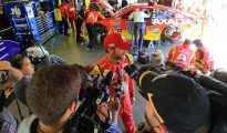 Dale Earnhardt Jr. speaks to the media after crashing out of the FireKeepers Casino 400 at Michigan. Photo: Daniel Shirey/NASCAR via Getty Images