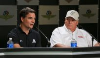 Jeff Gordon spoke to the media prior to the first practice session at the Brickyard. Photo: Daniel Shirey/Getty Images