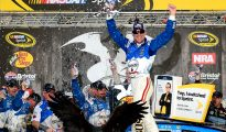 Kevin Harvick celebrates victory at Thunder Valley. Photo: Jeff Curry/NASCAR via Getty Images