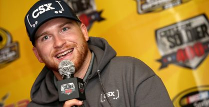 Chris Buescher addressed the media prior to the first practice session for the Citizen Soldier 400 NASCAR Sprint Cup Series Chase race at Dover International Speedway. Photo: Sean Gardner/NASCAR via Getty Images
