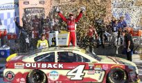 Kevin Harvick celebrates victory in the Hollywood Casino 400 at Kansas Speedway. Photo: Simon Scoggins/SpeedwayMedia.com