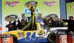 Grant Enfinger celebrates victory at Talladega Superspeedway. Photo: Jerry Markland/Getty Images