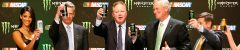 Brian France and the other dignitaries from today's press conference join in a toast to welcome Monster Energy into the NASCAR fold. Photo: Jonathan Ferrey/Getty Images