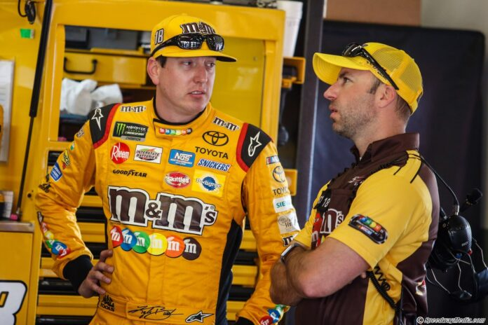 Kyle Busch in the MENCS garage with his team. Photo by David Rosenblum for SpeedwayMedia.com