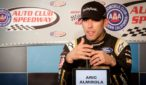 Aric Almirola addresses the media on Friday at Auto Club Speedway. Photo by Rachel Myers for Speedway Media.