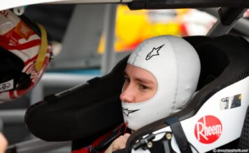 Christopher Bell prepares for his Xfinity qualifying run at Las Vegas. Photo by Rachel Myers for SpeedwayMedia.com