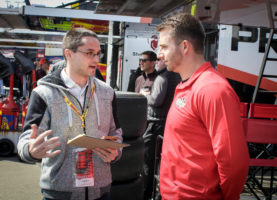 Matt DiBenedetto shared a few moments with me before the Auto Club 400. Photo by Rachel Myers for Speedway Media.