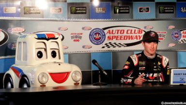 "Kasey Kahne and ""Lefty"" address the media for a press conference. Photo by Rachel Myers for SpeedwayMedia.com"