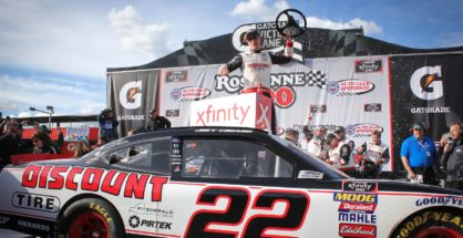 Joey Logano leads 139 laps in a dominating win in the Roseanne 300. Photo by Rachel Myers for Speedway Media.