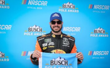 Martin Truex Jr. wins his first career pole at Auto Club Speedway for the 2018 Auto Club 400. Photo by Rachel Myers for SpeedwayMedia.com.