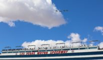 Four jets fly over Las Vegas Motor Speedway after the National Anthem. Photo by Rachel Myers for Speedway Media.