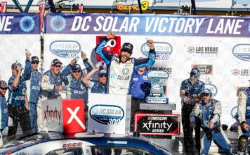 Ross Chastain celebrates in his new part-time role with Chip Ganassi Racing as he wins the DC Solar 300 at Vegas. Photo by Rachel Myers for Speedway Media.