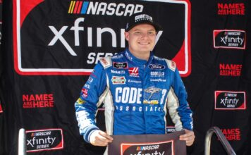 Cole Custer sets a blistering pace of 30.118 seconds to snag the pole for the DC Solar 300. Photo by Rachel Myers for Speedway Media.
