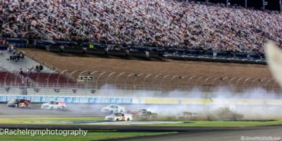 "The ""Big One"" erupts at Vegas during the second overtime finish attempt. Photo by Rachel Myers for Speedway Media."