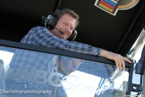 Dale Earnhardt Jr. calling the race from Turns 3 and 4 with NBC Sports. Photo by Rachel Myers for Speedway Media.