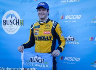 Erik Jones starts the Cup Series Playoffs hunt with a pole for the South Point 400. Photo by Rachel Myers for Speedway Media.