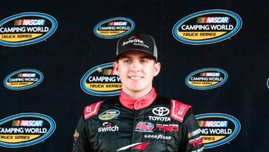 Noah Gragson wins the pole for the 2018 Lucas Oil 150 at ISM Raceway in the NASCAR Camping World Truck Series. Photo by Rachel Schuoler for Speedway Media.