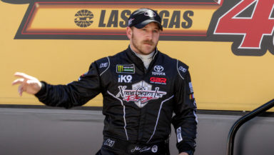Jeffrey Earnhardt walks out during driver introductions earlier this year at Las Vegas Motor Speedway. Photo by Rachel Schuoler for Speedway Media.