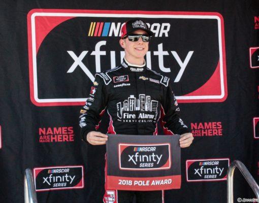 John Hunter Nemechek runs a time of 26.970 seconds to earn his first career NASCAR Xfinity Series pole for today's Whelen Trusted to Perform 200 at ISM Raceway. Photo by Rachel Schuoler for Speedway Media.