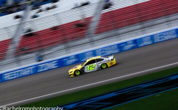 Ryan Blaney turns some laps during Friday's Monster Energy NASCAR Cup Series practice session at Las Vegas Motor Speedway. Photo by Rachel Schuoler for SpeedwayMedia.com.