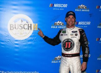 Kevin Harvick will start out front at Las Vegas Motor Speedway for the first time in his career for the Pennzoil 400. Photo by Rachel Schuoler with SpeedwayMedia.com.