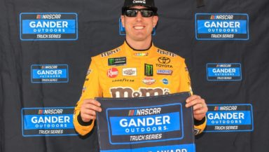 Kyle Busch earns his 22nd career Truck Series pole for Strat 200 at Las Vegas Motor Speedway. Photo by Rachel Schuoler.