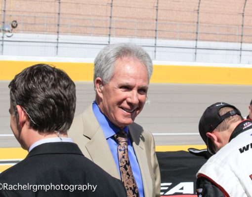 Darrell Waltrip talks with various pit crew members at Las Vegas Motor Speedway before going on air with NASCAR on FOX. Photo by Rachel Schuoler for Speedway Media.