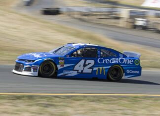 Kyle Larson earns his third consecutive pole at Sonoma Raceway. Photo courtesy of Patrick Sue-Chan for Speedway Media.