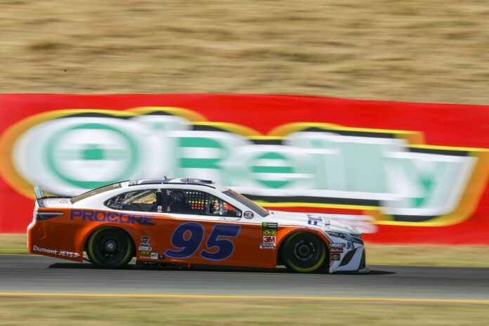 Matt DiBenedetto charges through the traditional Carousel at Sonoma Raceway during the Toyota/Save Mart 350. Photo courtesy of Rachel Schuoler for Speedway Media.