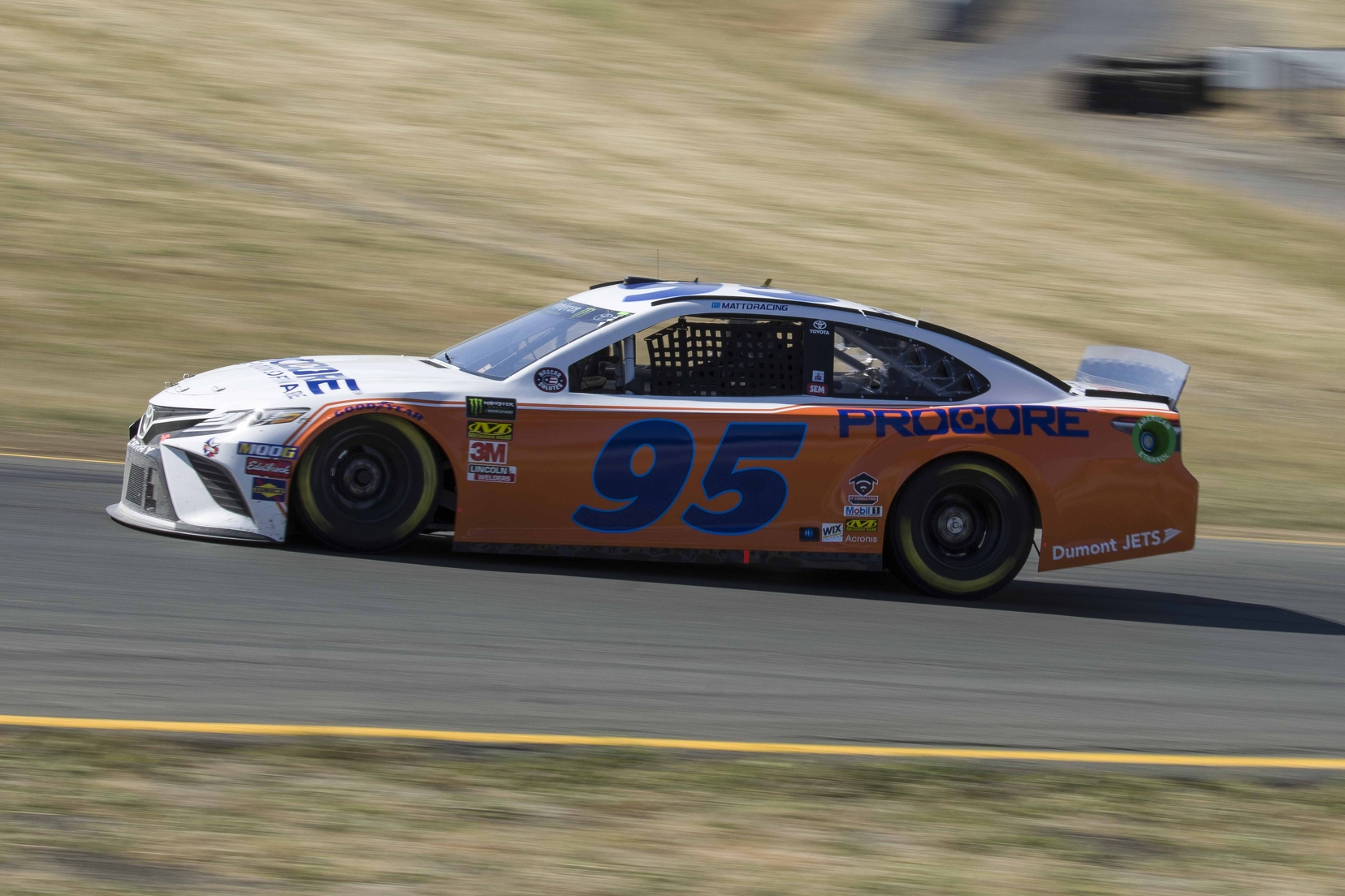 Matt DiBenedetto wheeled his No. 95 Procore Toyota for Levine Family Racing during one of Friday's practice sessions at the technical road course. Photo courtesy of Patrick Sue-Chan for Speedway Media.