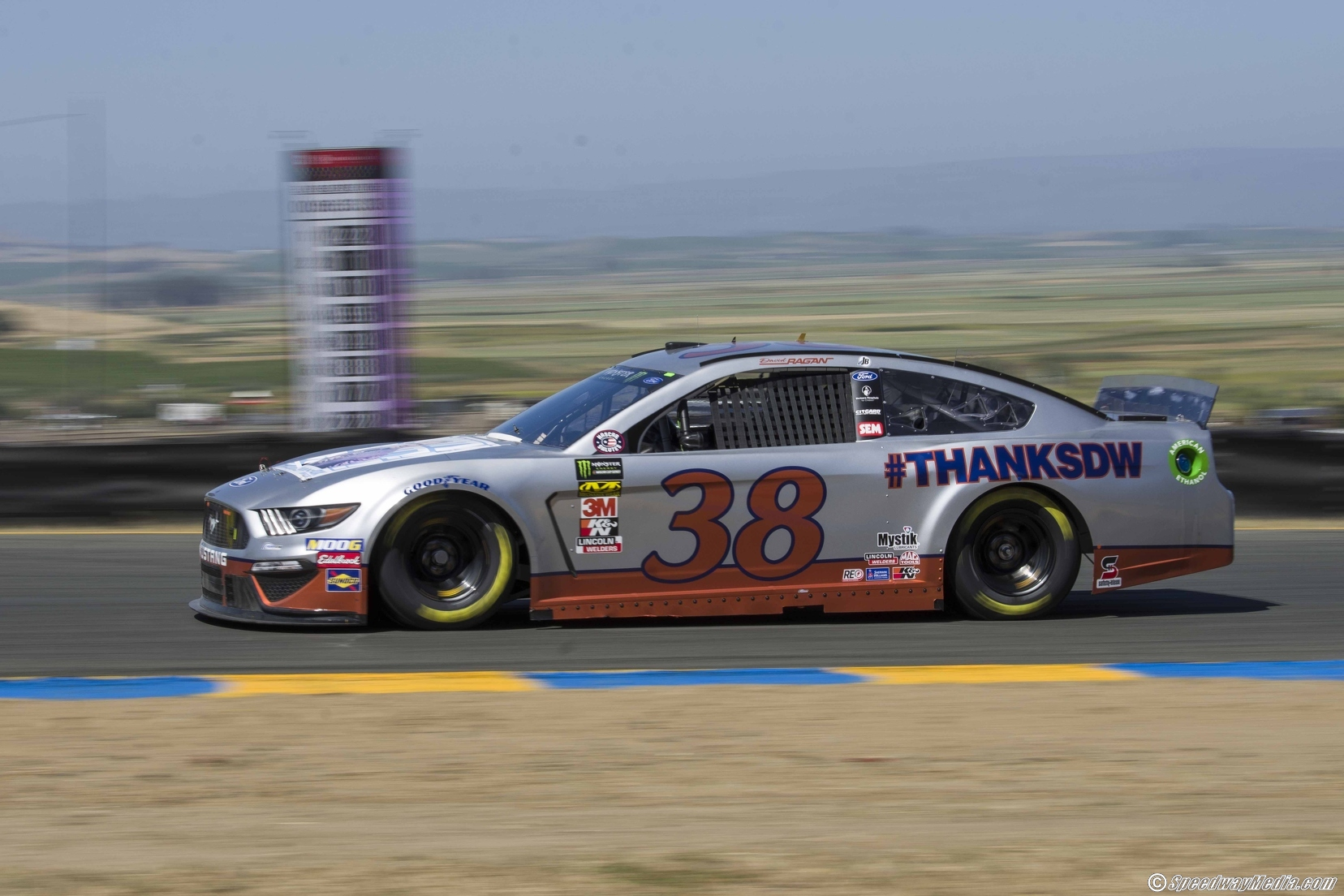 David Ragan practices on Friday in his #ThanksDW Mustang at Sonoma Raceway. Photo courtesy of Patrick Sue-Chan for Speedway Media.