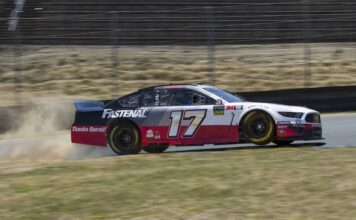 Ricky Stenhouse Jr. kicks up some dirt during practice at Sonoma Raceway with his Darrell Waltrip tribute car. Photo courtesy of Patrick Sue-Chan of Speedway Media.