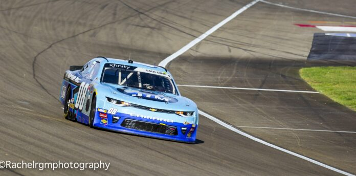 Gray Gaulding races across the start-finish line at Las Vegas Motor Speedway in the Rhino Pro Truck Outfitters 300. Photo courtesy of Rachel Schuoler for Speedway Media.