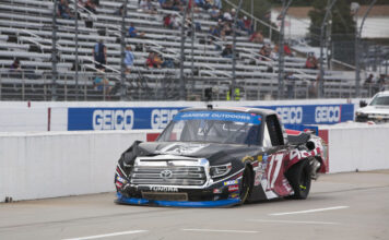 Tyler Ankrum drives down pit road after severe damage from a crash at Martinsville Speedway. Photo courtesy of Stephanie McLaughlin with Speedway Media.