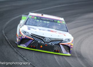 Denny Hamlin led 143 laps on route to his 49th career victory in the Monster Energy NASCAR Cup Series. Photo courtesy of Rachel Schuoler for Speedway Media.