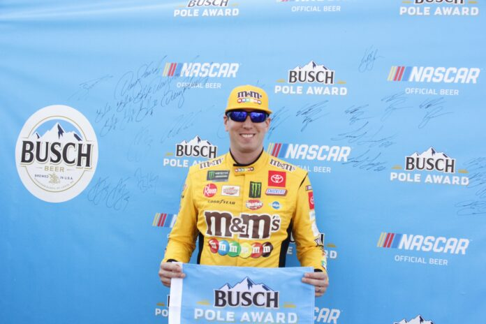 Kyle Busch leads six other consecutive Playoff drivers to earn his first pole of 2019. Photo courtesy of David Myers with Speedway Media.
