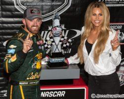 Austin Dillon with trophy Xfinity Series Michigan 6-9-18 by Tim Jarrold