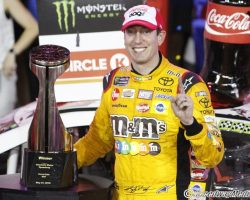 Kyle Busch with tropy at Charlotte Coca-Cola 600 by Brad Keppel 5-27-18